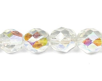 25 CRYSTAL AB 8mm Czech Glass Fire Polish Faceted Round Beads - 8mm Beads - Czech Beads - Glass Beads - Firepolish Beads