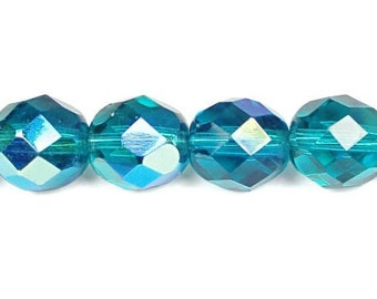 25 DARK TEAL AB 8mm Firepolish Faceted Round Glass Beads - Teal Blue Beads - Czech Glass Firepolished Beads - Ocean Blue