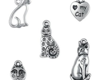 5 Silver Cat Charms Mix TierraCast Pewter Antique Silver Charms Silver Cat and Kitty Charm Mix Assortment Collection  (PMX3)