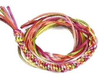 Kumihimo Cord Mix - Southern Rose Assortment Satin Rattail Cord