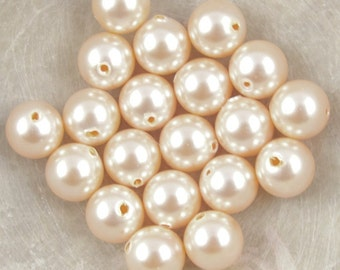 6mm LIGHT PEACH Swarovski Pearls - Article 5810 6mm Crystal Pearl Beads Light Orange Peach Pearls Apricot 6mm Beads 6mm Pearls Peach