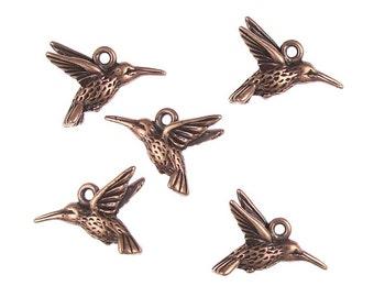 TierraCast HUMMINGBIRD CHARMS - Antique Copper Charms - Humming Bird Drop - Spring Summer Charms (P895)