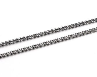 Gunmetal Chain - 3 Feet of Loose Necklace Chain - Gun Metal Chain - Filed Curb Chain 3mm Wide (FSGMC4)