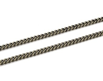 Bulk Spool - 25 Feet of 3mm Antique Brass Filed Curb Chain - Aged Solid Brass Chain - Loose Jewelry Chain Antique Bronze Chain (FSABC4)