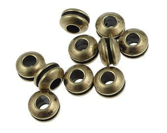 TierraCast GROOVED Large Hole Beads - Antique Brass Beads - Brass Oxide Bronze 8mm Metal Beads (PAS16)