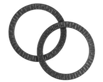 """Large Black Rings Gunmetal Black Oxide 1 1/4"""" Radiant Rings Textured Metal TierraCast Pewter Extra Large Rings  (PB31)"""