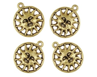 Gold Sun Charms Antique Gold TierraCast Pewter Happy Smiling Sun Pendants Summer or Solstice Supplies (P100)