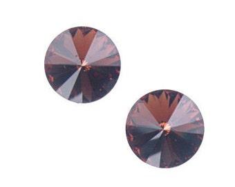 12mm SMOKED TOPAZ Swarovski Rivoli Stones - Austrian Crystal 1122 12mm Rivolis - Dark Brown Crystals Fall Beads Autumn Beads