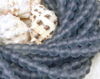 50 Montana Blue 6mm Czech Glass Frosted Seaglass Bead Style Round Beads