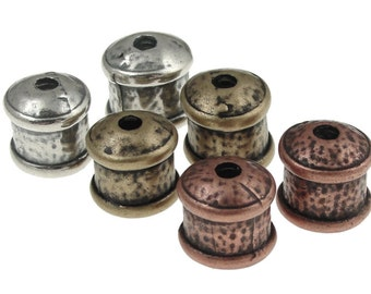 6 Assorted 9mm Kumihimo End Caps - Silver, Brass and Copper Plated Large 11mm x 12mm Fancy Cord Caps - Kumihimo Supplies Findings(KH13)