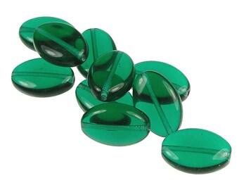 Green Glass Beads 10 Emerald Jablonex 16mm x 11mm Flat Smooth Czech Glass Ovals Deep Green