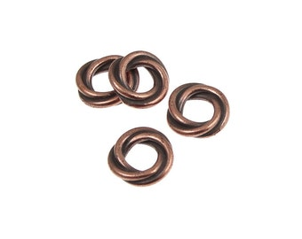 Copper Beads 10mm Twist Large Hole TierraCast Loveknot Beads for European Style Bracelets - Antique Copper Love Knot Beads (PS347)