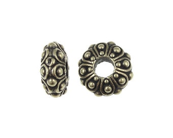 4+ Antique Brass Beads - TierraCast  Pewter Metal Beads - 12mm Casbah EuroBead Spacers for European Style Bracelets (P1005)