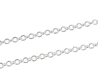 36 Inches of Silver Chain - 2mm Round Cable Chain - Loose Necklace Chain Silver Plated Craft Chain for Jewlery Making (FSCHS10)
