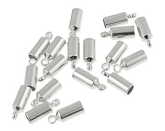 Kumihimo Cord End 18 Silver Plated 3mm Small Cord End Caps Kumihimo Supplies (KH22)
