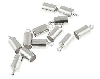 12 Silver Cord Ends 4mm End Caps for Kumihimo or Cord - Kumihimo Cord Ends Cord Cap Findings - Kumihimo Supplies Silver Plated (KH25)