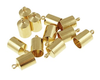 12 Kumihimo Caps - 6mm Gold Kumihimo End Caps - Gold Plated Cord End Caps Kumihimo Supplies - Kumihimo Findings - Glue In Cord Caps (KH29)