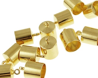 12 Kumihimo Caps - 8mm Kumihimo End Caps - Gold Plated Large Cord End Caps - Kumihimo Findings Supplies Glue Ready Glue In Caps (KH32)