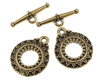 TierraCast BALI TOGGLE Clasp Set - Antique Gold Toggle Clasp Findings - Gold Findings Tierra Cast Pewter (PF262)