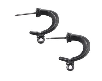 Large Gunmetal Earring Posts - Black Oxide TierraCast Pewter GRECIAN HOOP Stud Ear Findings Post Earrings Fancy Gun Metal Findings (PBF24)