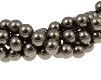8mm BROWN Swarovski Pearl Beads - Article 5810 8mm Swarovski Crystal Pearls - Chocolate Brown Pearls