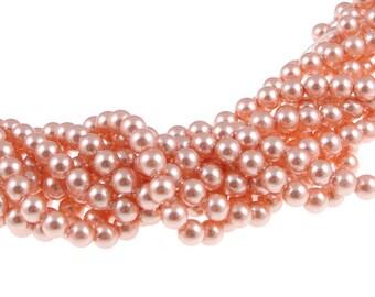 100 ROSE PEACH 4mm Swarovski Pearl Beads - 5810 4mm Pearls - Swarovski Crystal Pearls - Light Pink Peach Pearls