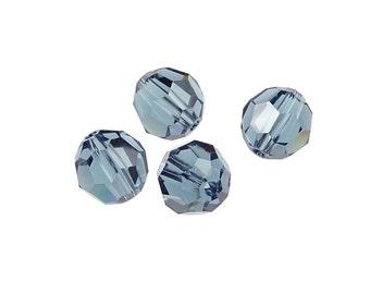 4 Denim Blue 8mm Swarovski Beads 5000 8mm Faceted Round Beads Swarovski Elements Wedgewood Smokey Blue