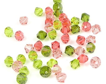 48 4mm Bicones Swarovski 5301 5328  Beads Spring Rose Mix Assortment Pink and Green (MX25)