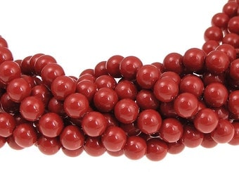 100 RED CORAL 6mm Swarovski Pearls 5810 6mm Dark Red Swarovski Crystal Pearls Gemcolor Gem Color Beads