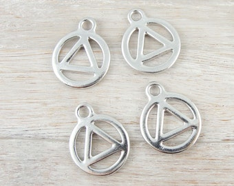 RECOVERY Charms - Bright Rhodium Silver Charms - Recovery Symbol Drop by TierraCast (P1114)
