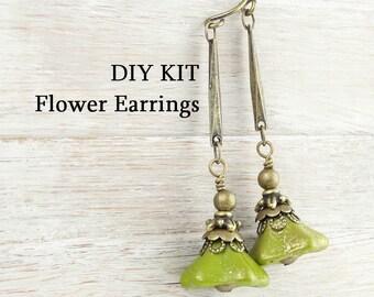 DIY EARRINGS KIT Antique Brass Beaded Earrings Olivine Olive Green Chartreuse Flower Earrings Vintage Style Jewelry Kit Do It Yourself