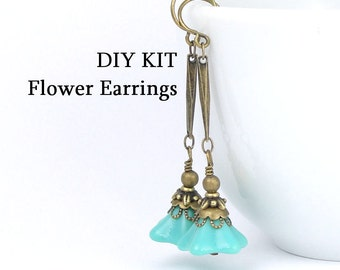 DIY EARRINGS KIT Antique Brass Earrings Flower Earrings Vintage Style Beaded Jewelry Kit Do It Yourself Turquoise Flower Jewelry
