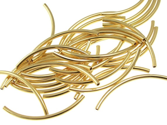 36 Gold Noodle Beads Gold Plated Tube Beads 2mm x 38mm with 1mm Internal Diameter Curved Tube Beads Gold Tubes Metal Beads (FS52)