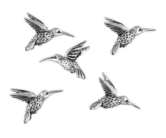 20 Antique Silver Hummingbird Beads TierraCast Humming Bird Bead BULK BAG (P896)