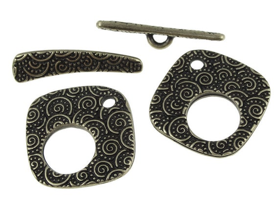 Antique Brass Toggle Clasp Findings - TierraCast LG SPIRAL Clasp Set - Bronze Toggle Findings (PF481)