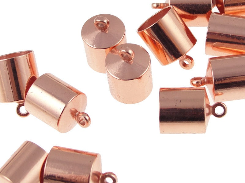Kumihimo end caps mm copper plated cord