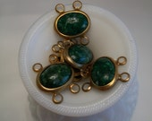 Vintage Connectors for Jewelry with Plastic Cabochons in Green