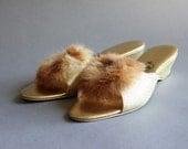 1960s Fur Trimmed Golden Slippers / Vintage 60s Gold Slippers