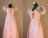1930s Dress / 30s 40s Wistful Pink Formal / 1940s Party Dress