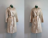 Vintage Coat / 1960s Spring Coat / 50s 60s Metallic Trench Coat