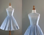 Vintage 50s Dress / 1950s Sundress / 50s Blue Organdy Dress