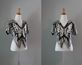 Sequin Butterfly Top / Vintage 70s Silk Sequined Top / Sequined Butterfly