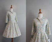 50s Dress / 1950s Day Dress / 50s White Floral Shirtwaist Dress / Vintage Dress