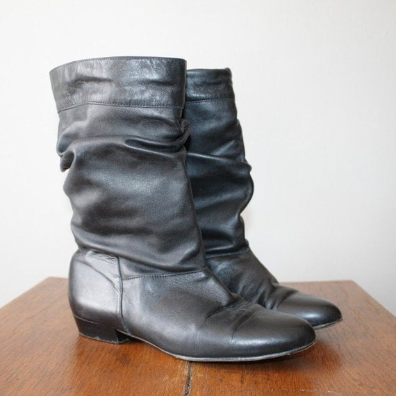 80 s black leather slouch boots