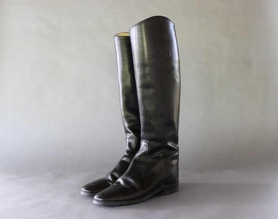 Vintage Riding Boots - Black Leather Knee High Equestrian Riding Boots