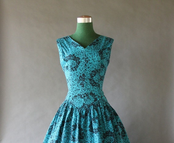 Vintage 50s Dress / 1950s Turquoise and Black Full Skirt Cotton Dress