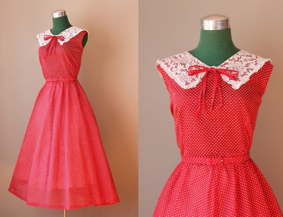 Vintage 1950s Holly Red Dress / Dotted Swiss Lace Collar  50s Party Dress