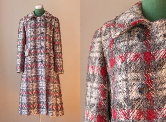 1960s Coat / Pewter and Cranberry Tweed Wool Coat / Vintage 60s Wool Coat
