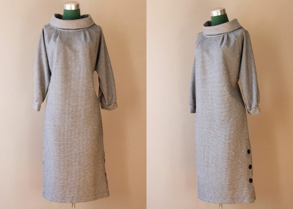 Vintage Dress / Funnel Neck Dress / 60s 70s Black and White Dress