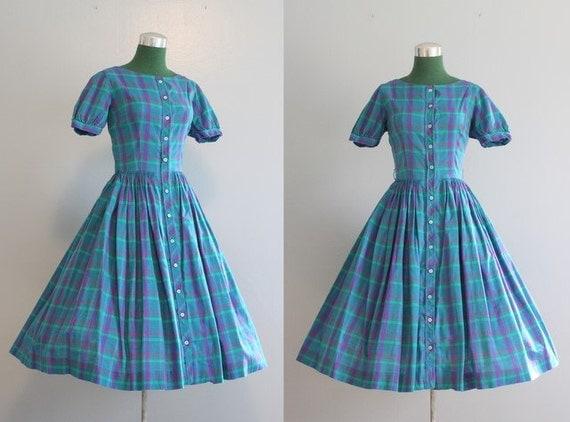 Vintage Dress / 1950s Dress / 50s Jonathan Logan Plaid Full Skirt Day Dress